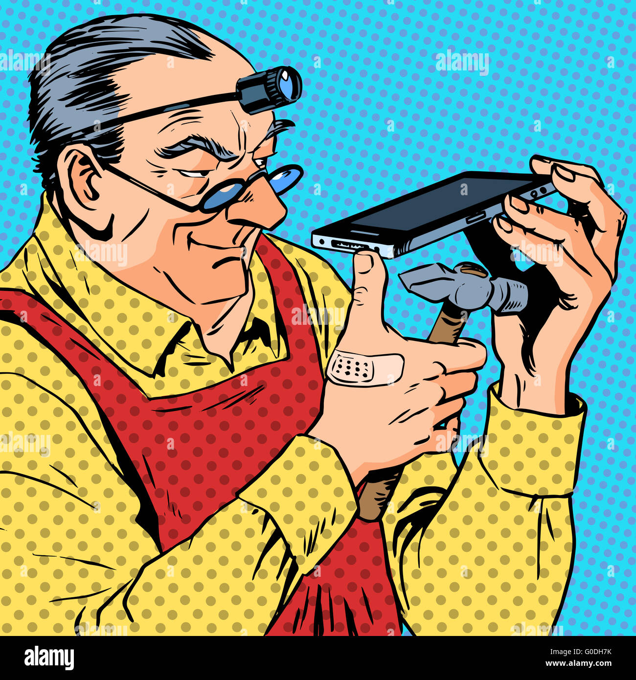 repairman phones smartphone humour mechanic engineer gadgets pro - Stock Image