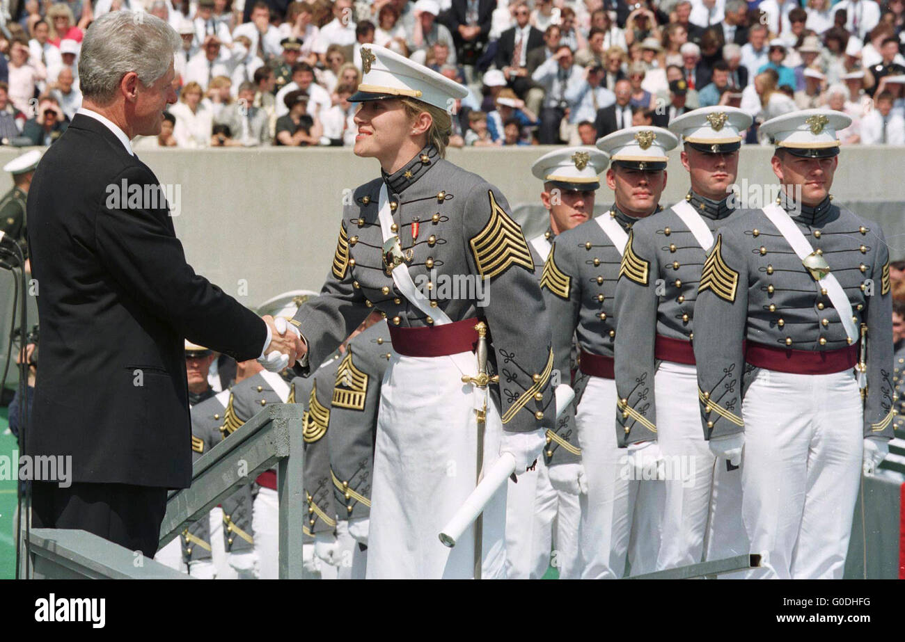 US President Bill Clinton shakes hands with West Point Military Academy graduates during the graduation ceremony. - Stock Image