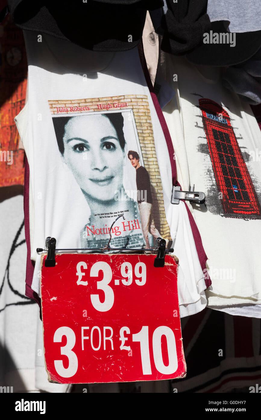 Notting Hill film T-shirt, Portobello Market, famous antiques market in Portobello Road, London, England, UK - Stock Image