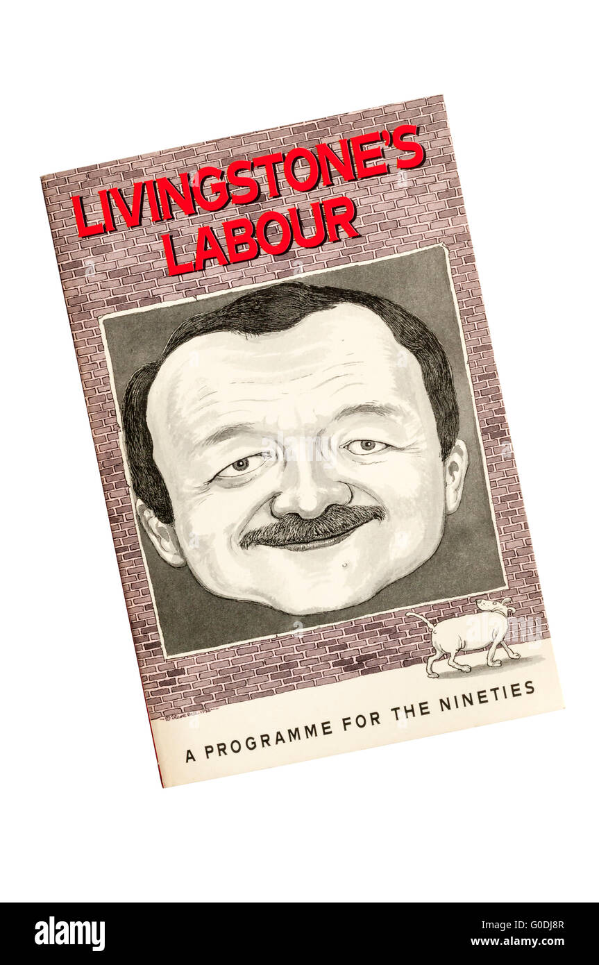 A copy of Livingstone's Labour by Ken Livingstone. Published by Unwin Hyman 1989.  Cover by Steve Bell. - Stock Image