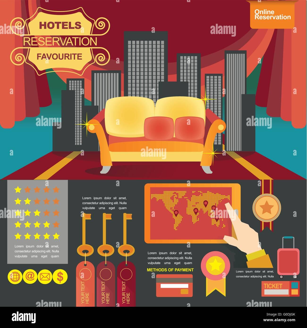 concept illustration banner template for hotels reservation and on line shop - Stock Image