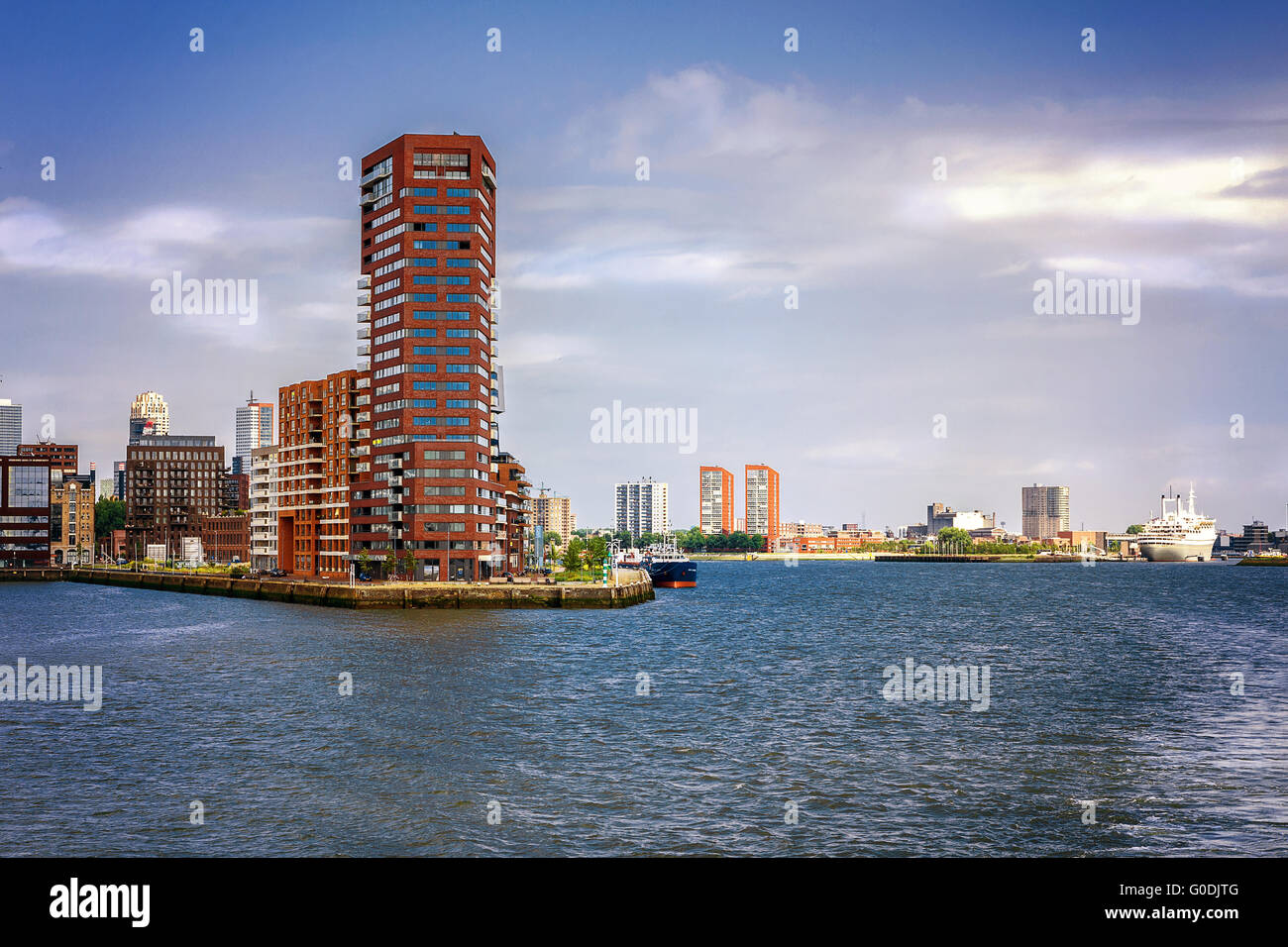 In the port of Rotterdam, Netherlands, overlooking - Stock Image