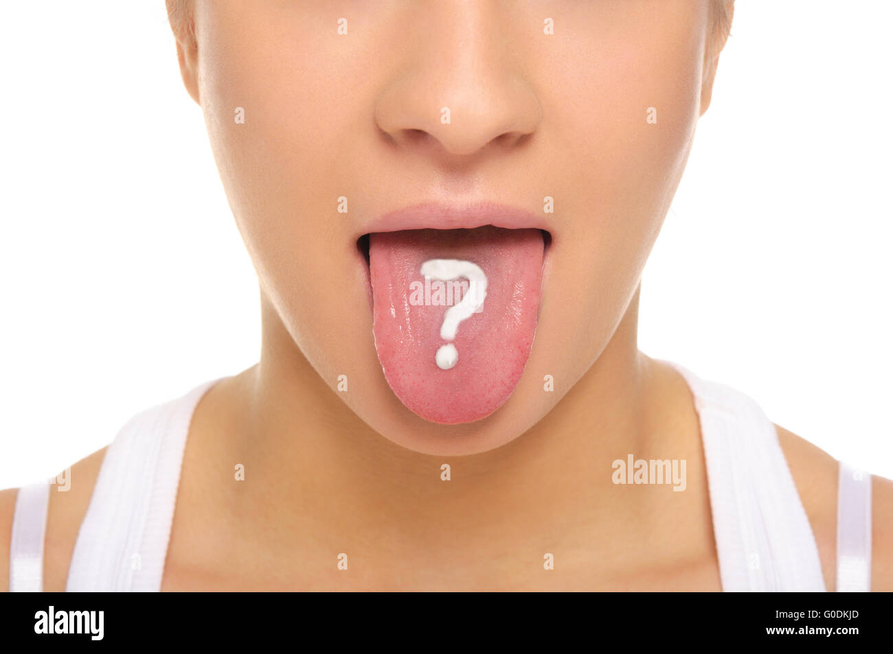 Woman puts out tongue with drawn question mark - Stock Image