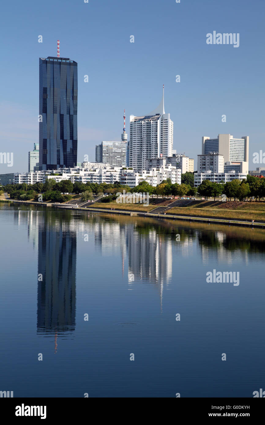 View of Donau City Vienna with DC Tower 1 - Stock Image