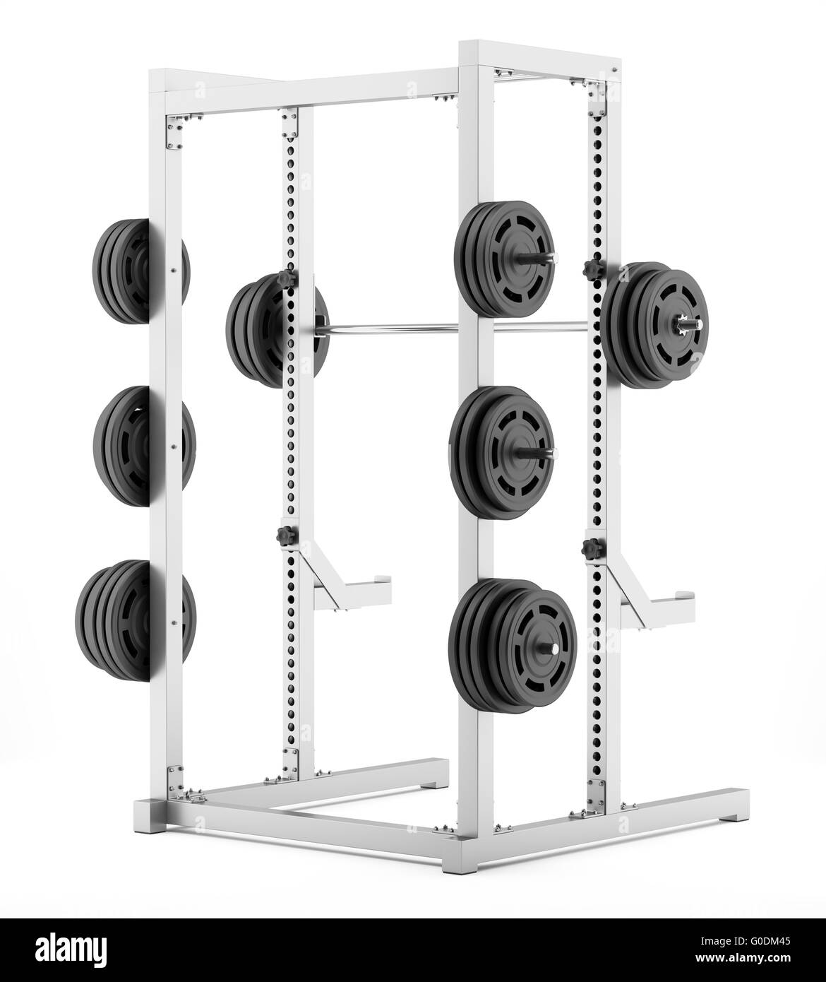gym half rack with barbell isolated on white - Stock Image
