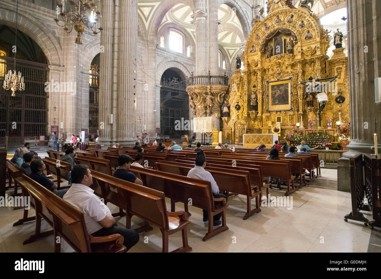 MEXICO CITY, MEXICO --Built in stages from 1573 to 1813, the Mexico City Metropolitan Cathedral is the largest Roman - Stock Image