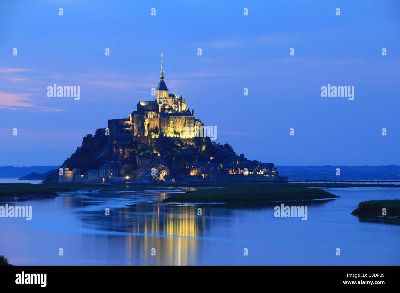 The Mont-Saint-Michel at night flood - Stock Image