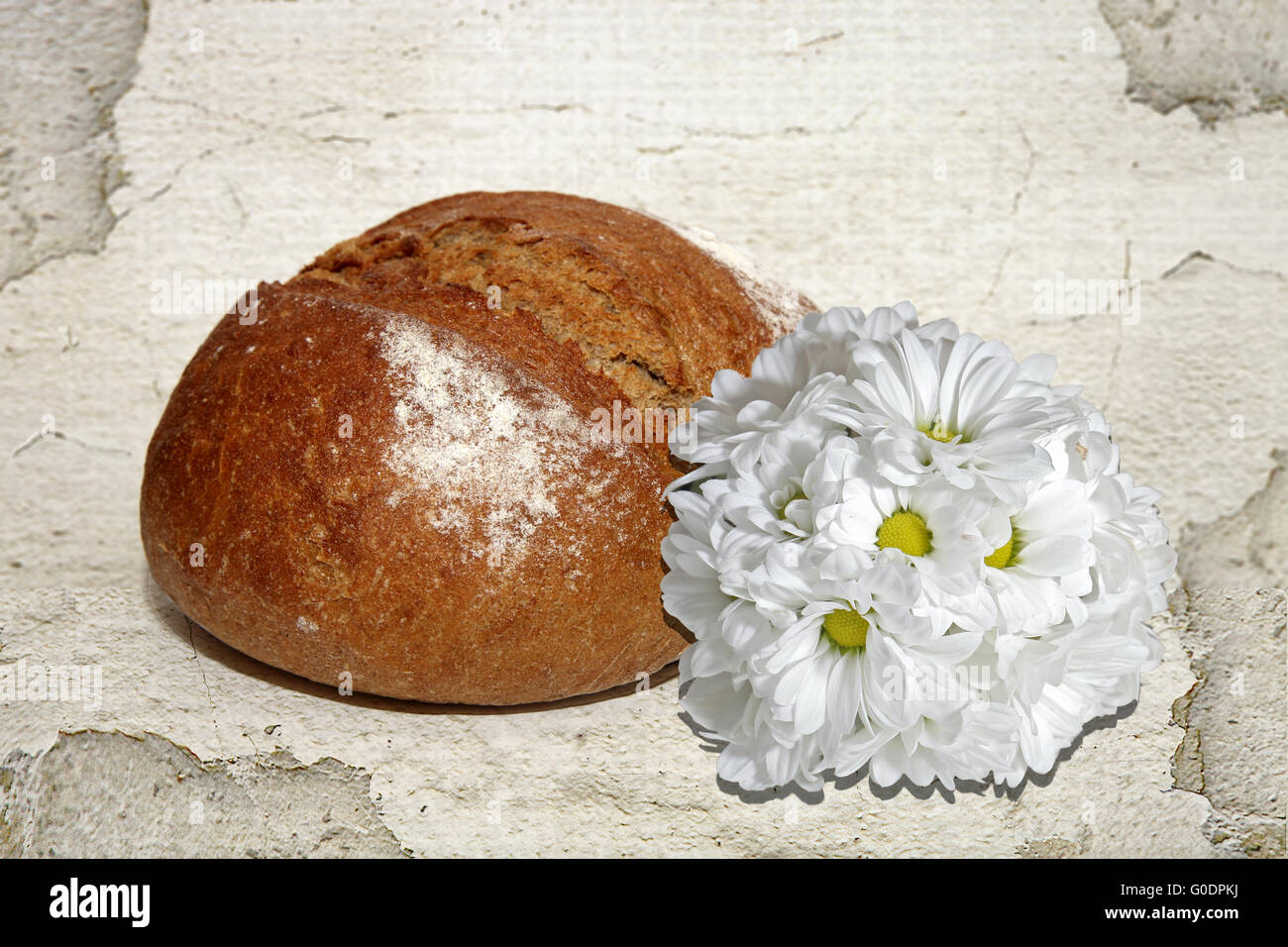 Bread with flowers - Stock Image