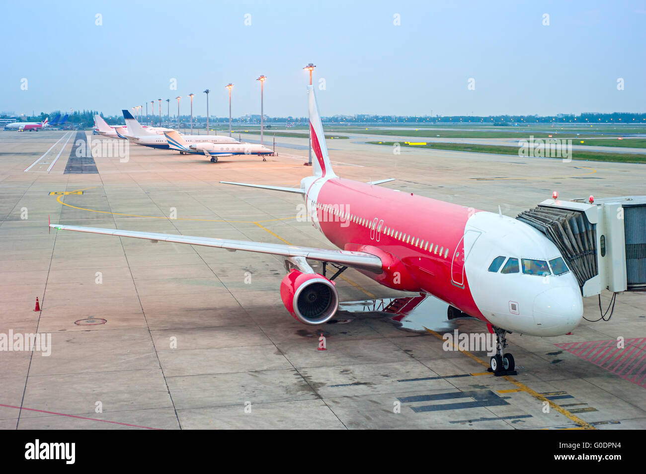 Planes in the airport - Stock Image