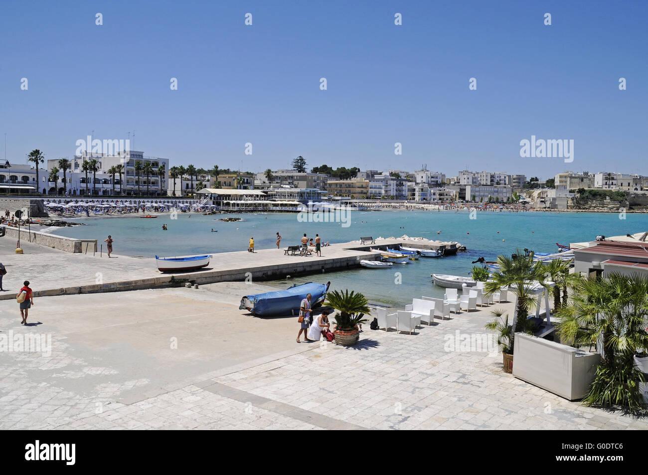 waterside promenade, Otranto, Italy - Stock Image