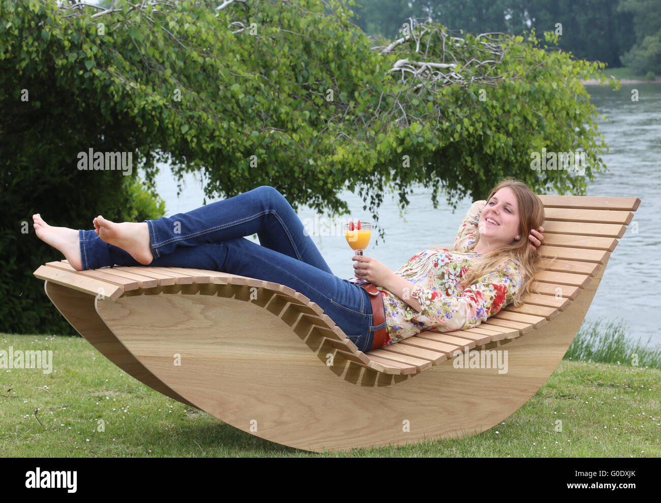 Wooden Sunbed - Stock Image