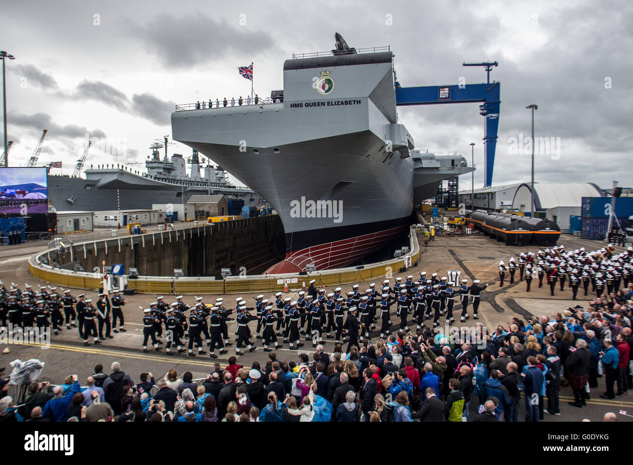 NAming Ceremony of Aircraft Queen Elizabeth Stock Photo