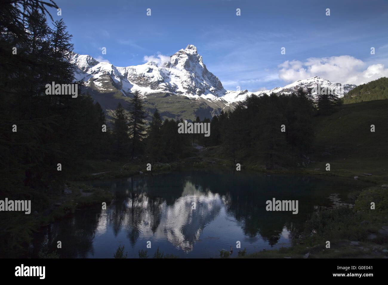 reflection of Matterhorn - Stock Image