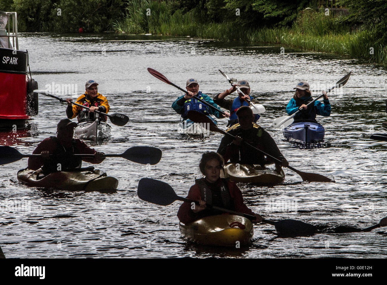 Canoe club on Forth and Clyde canal Scotland - Stock Image