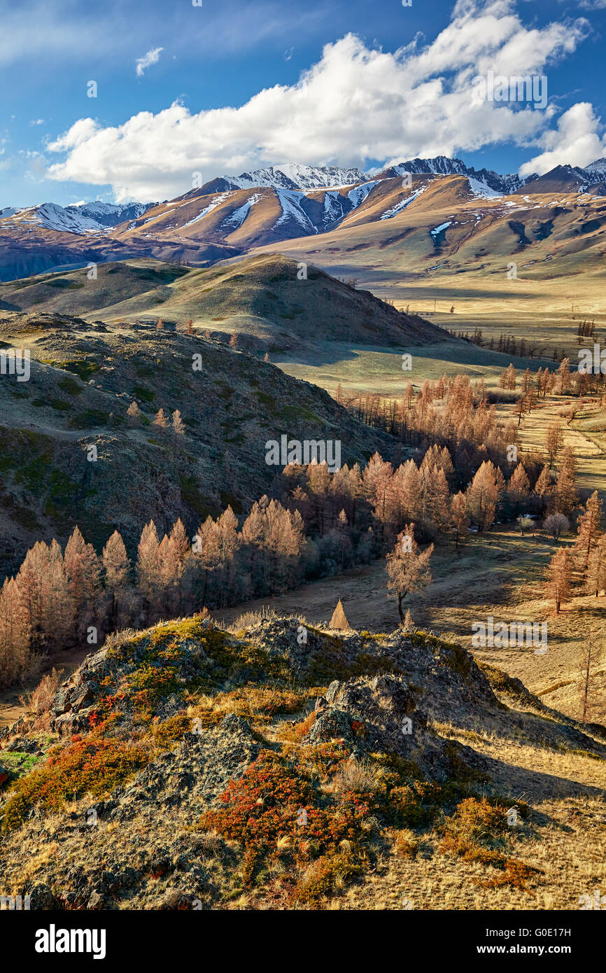 Altai mountains in Kurai area with North Chuisky Ridge on background - Stock Image