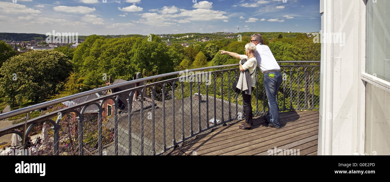 couple admiring the view from the Elisen Tower - Stock Image