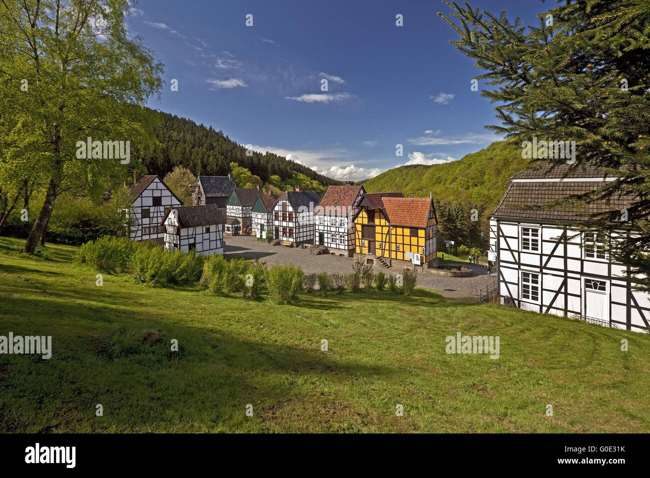 half-timbered houses of Hagen Open-air Museum Stock Photo