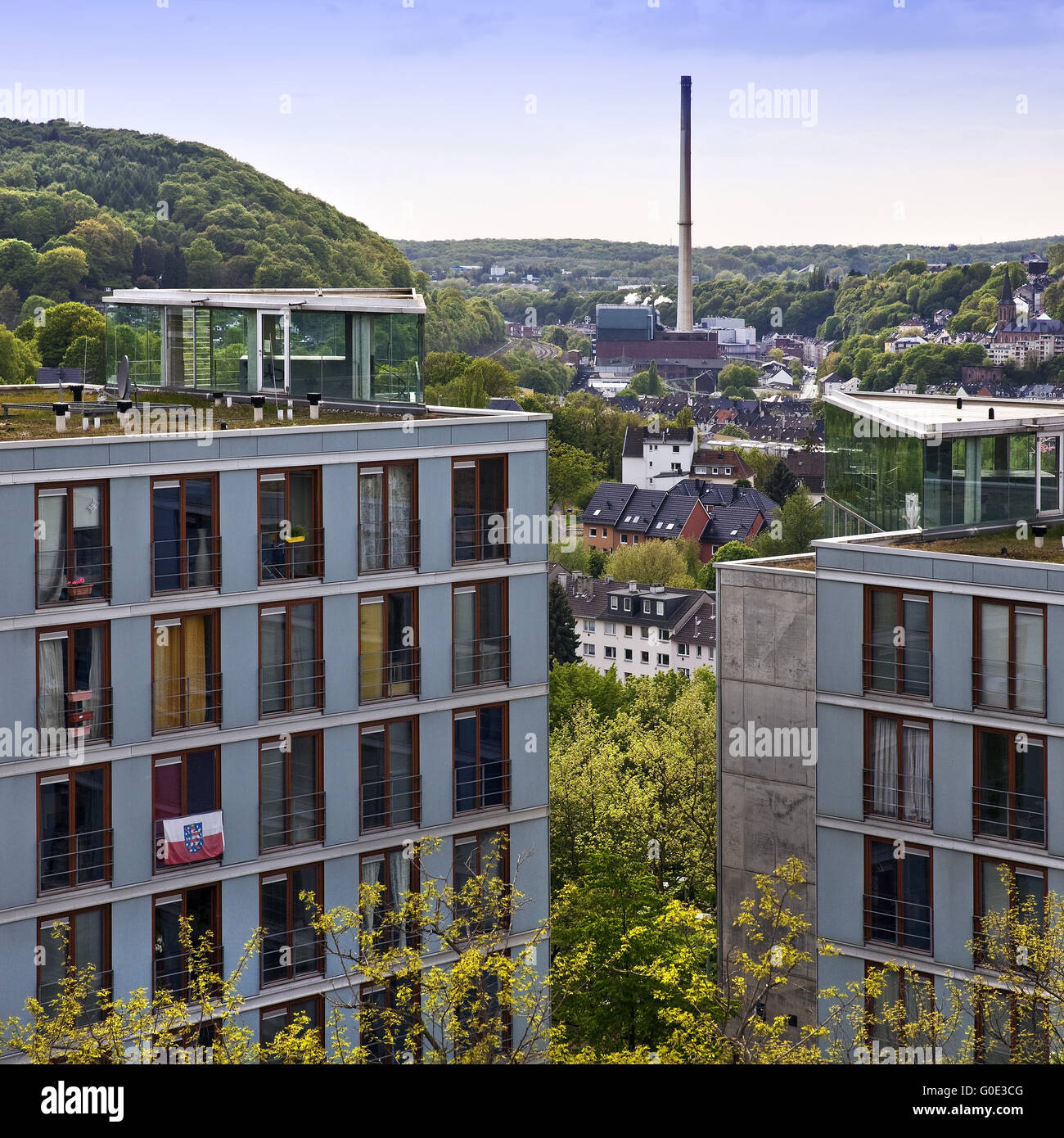 view from the university onto wuppertal - Stock Image