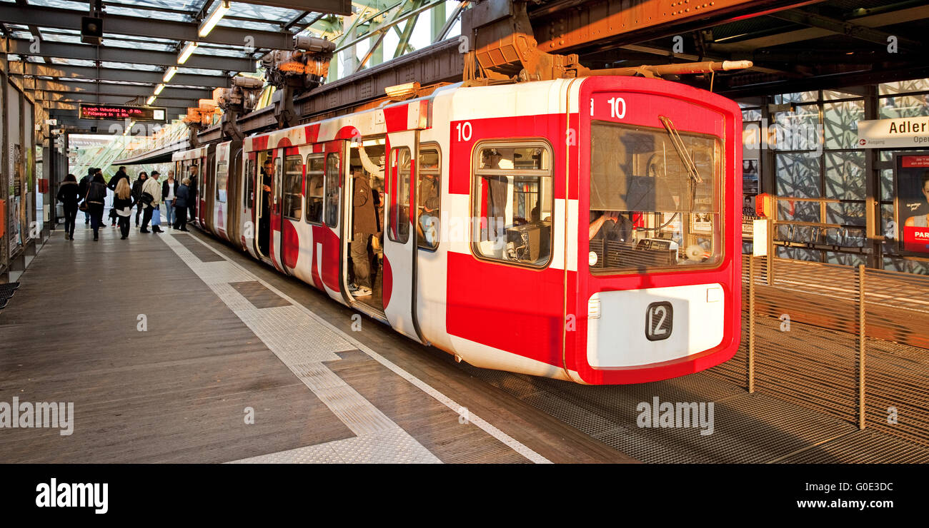 Wuppertal Suspension Railway at stopover - Stock Image