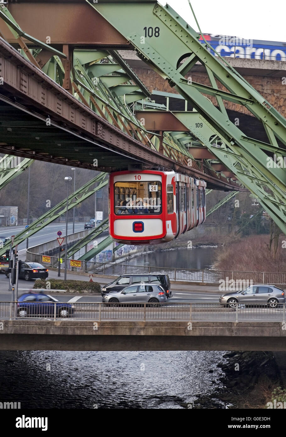 Wuppertal Suspension Railway and traffic - Stock Image