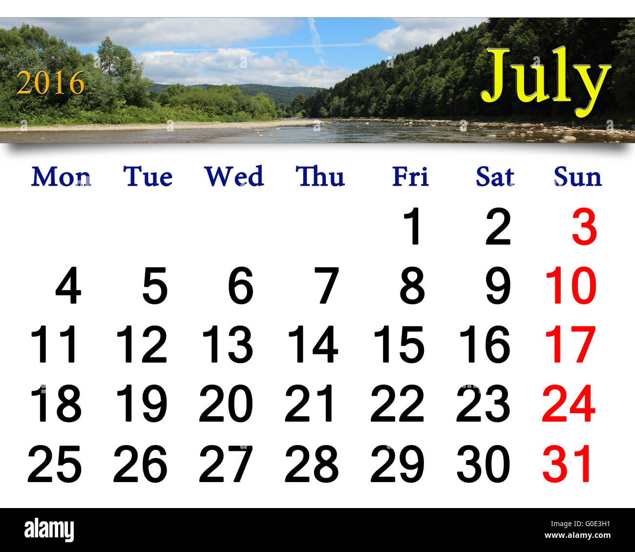 calendar for July 2016 on the background of summer Stock Photo