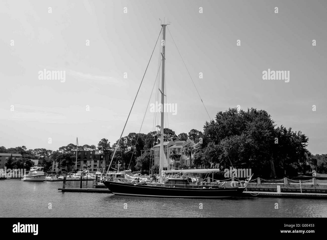 boats in harbour town of south beach hilton head - Stock Image