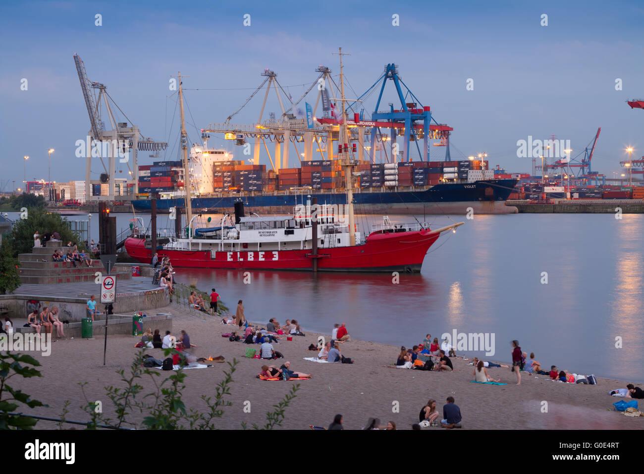 Hamburg Elbe River and Port Stock Photo