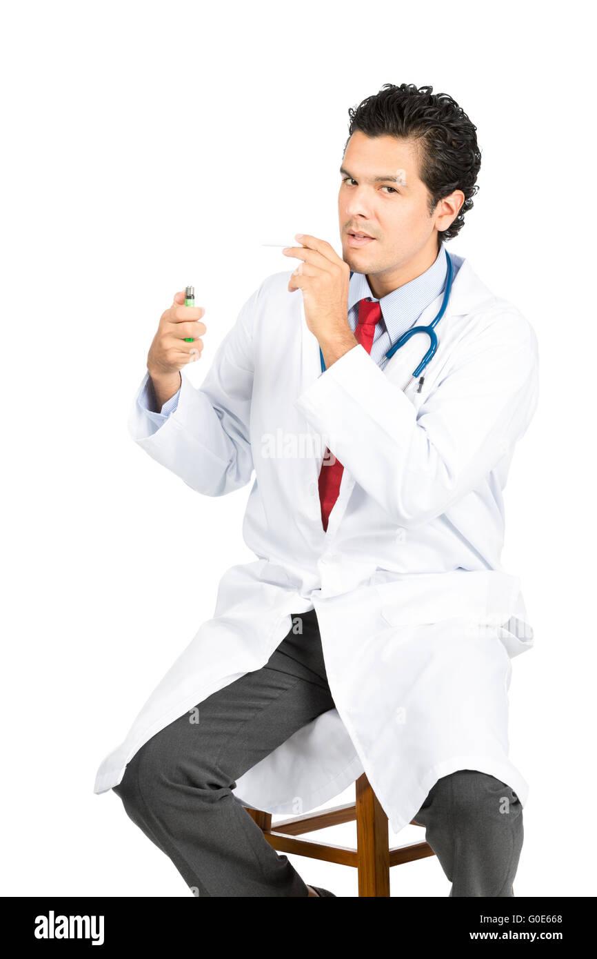 Latino Doctor Lighting Cigarette Stool At V - Stock Image