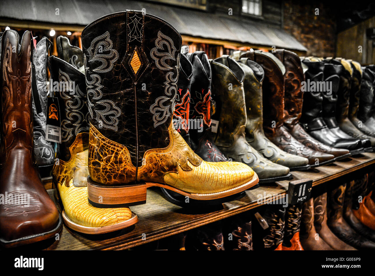 93ca7729884 The Nashville Cowboy boot store has rows of unique Cowboy boots for sale in  the downtown entertainment district in Nashville TN