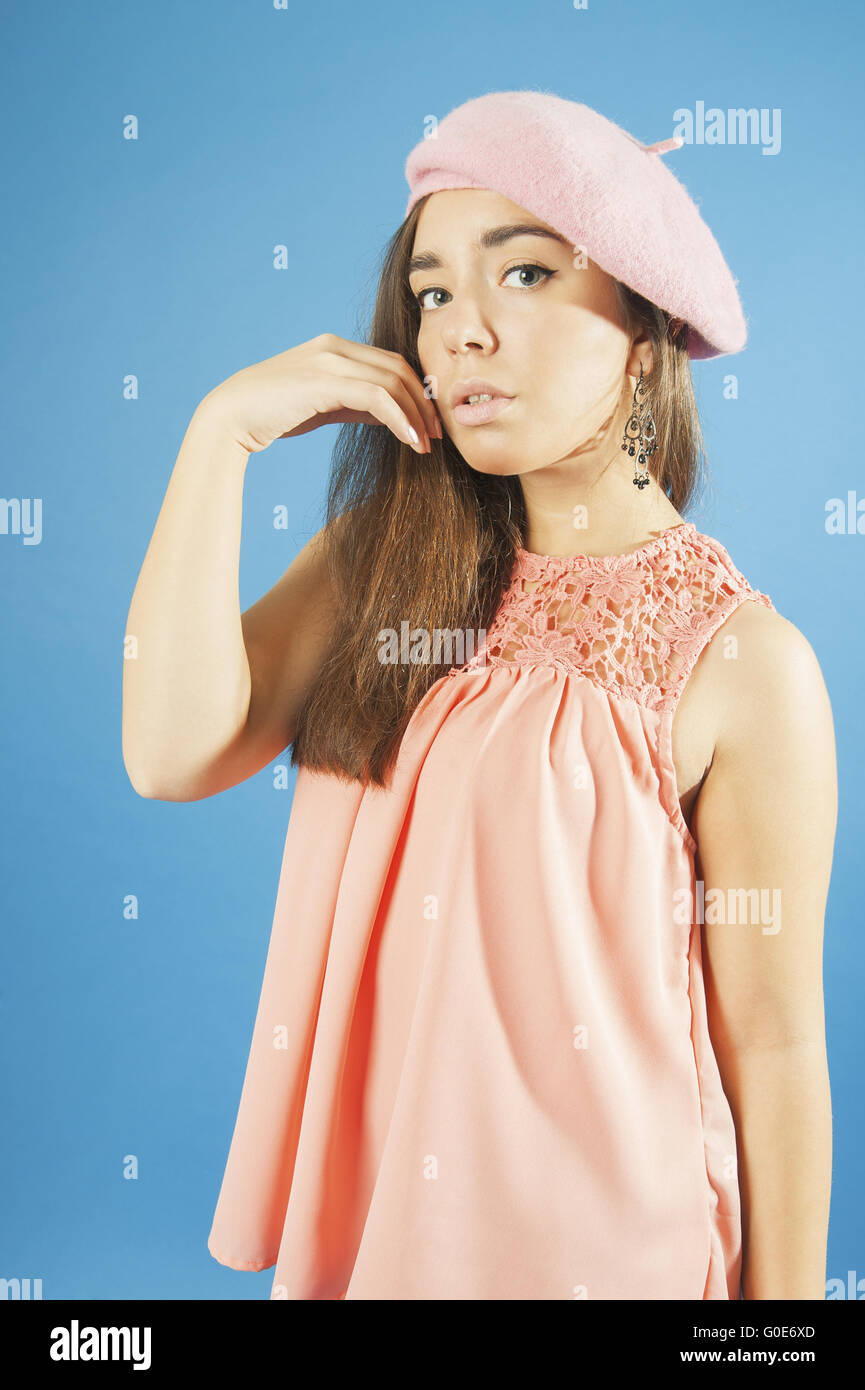 059305d3d28 Portrait of a young girl in blouse and beret Stock Photo  103574981 ...