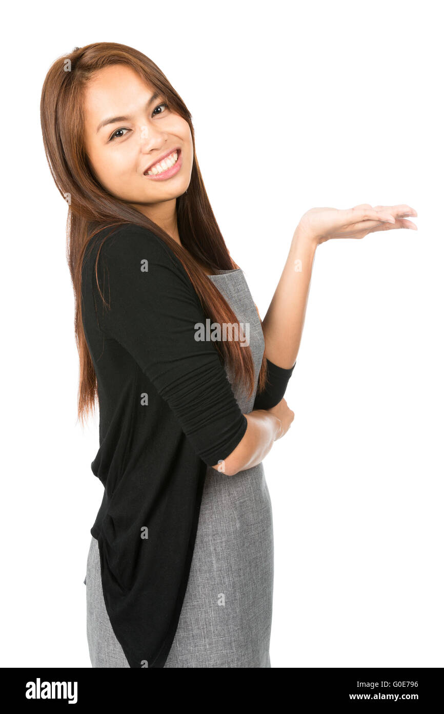 Hand Flat Out Asian Woman Displaying Leaning Back - Stock Image
