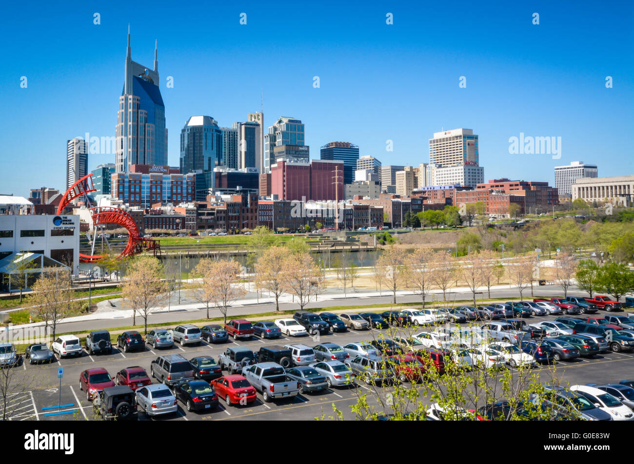 View From Parking Lot Serving Downtown Nashville And The NFL Team Titansu0027  Nissan Stadium On