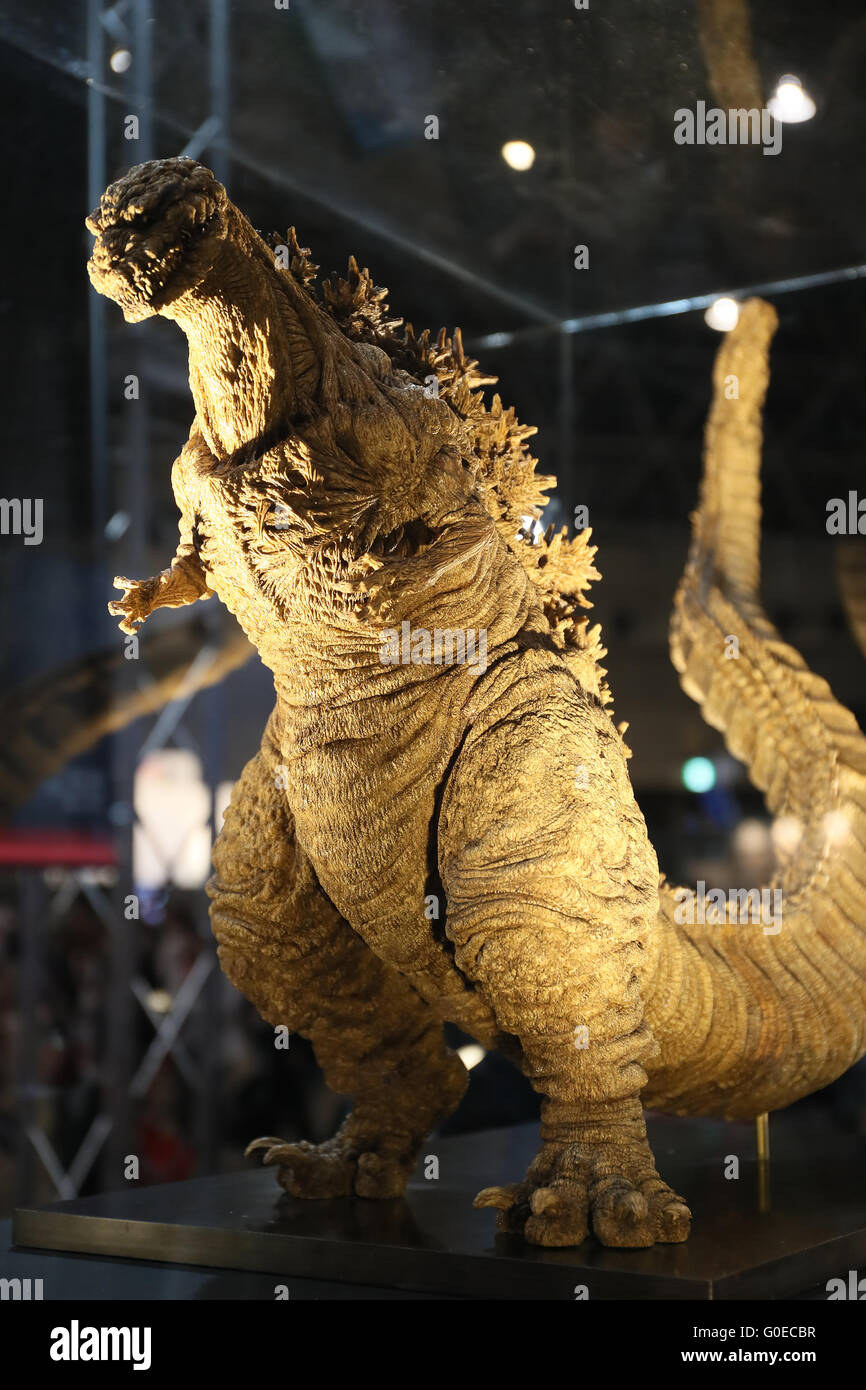 """Chiba, Japan. 30th Apr, 2016. A Godzilla figure for the new movie """"Shin Godzilla"""" is displayed for the promotion of the movie which will be screening in July during the Niconico Chokaigi in Chiba on Saturday, April 30, 2016. Some 150,000 visitors enjoyed over 100 booths including games, hobbies, sports, politics as well as Japan's sub cultures at the two-day offline meeting sponsored by Japan's video sharing website """"Niconico Douga"""". © Yoshio Tsunoda/AFLO/Alamy Live News Stock Photo"""