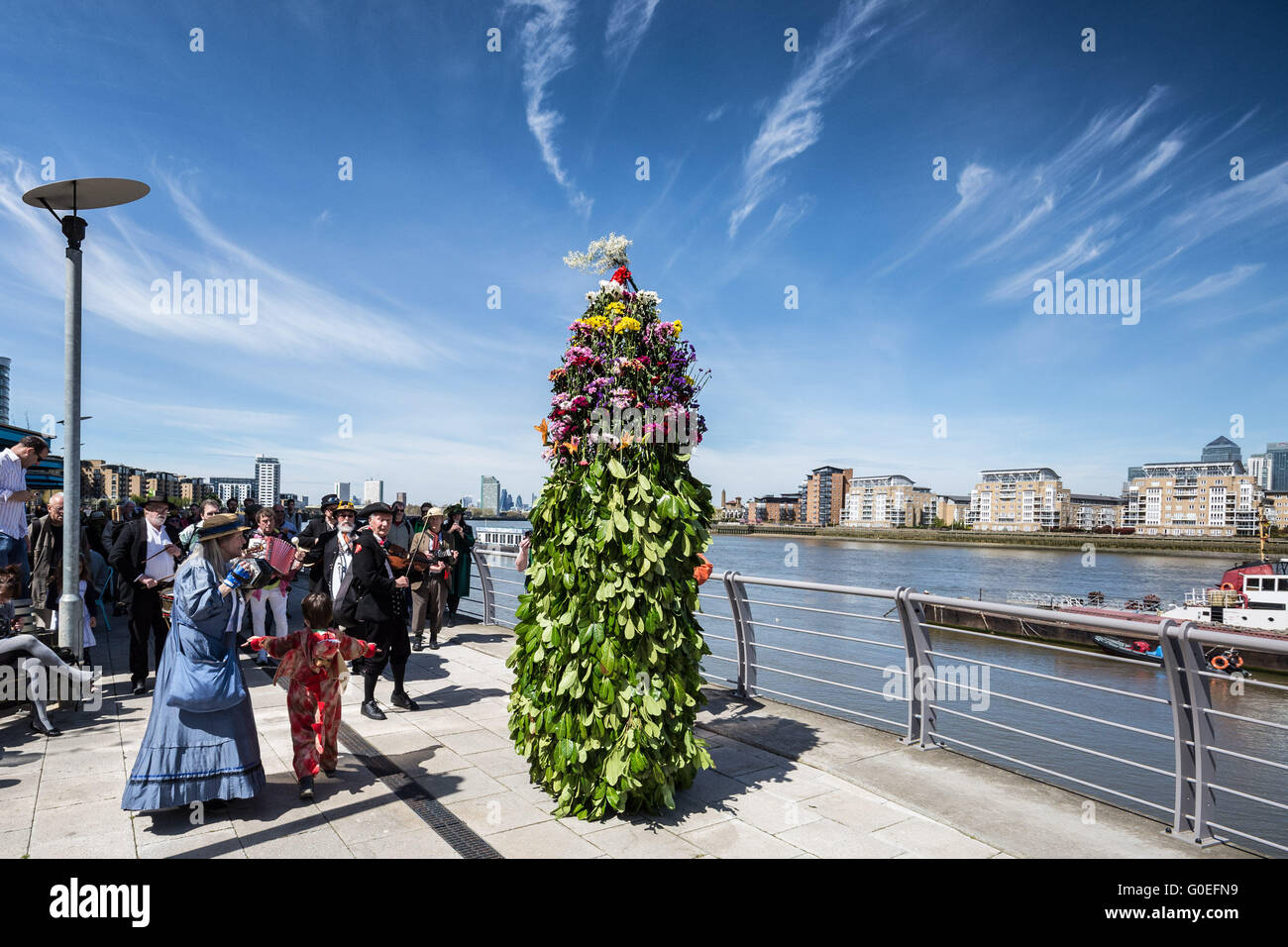 London, UK. 1st May 2016. The Fowlers Troop Jack in the Green procession on May Day from Deptford to Greenwich. Stock Photo