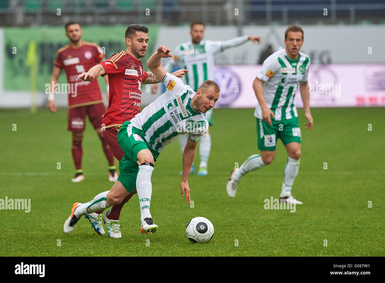 St. Gallen, Switzerland. 1st May, 2016. Dzengis Cavusevic is fouled by an FC Vaduz Player in the Raiffeisen Super - Stock Image