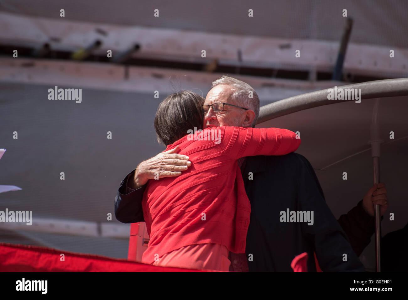 London, United KIngdom. 1st May 2016. Jeremy Bernard Corbyn the Leader of the Labour Party hugs Frances O'Grady - Stock Image