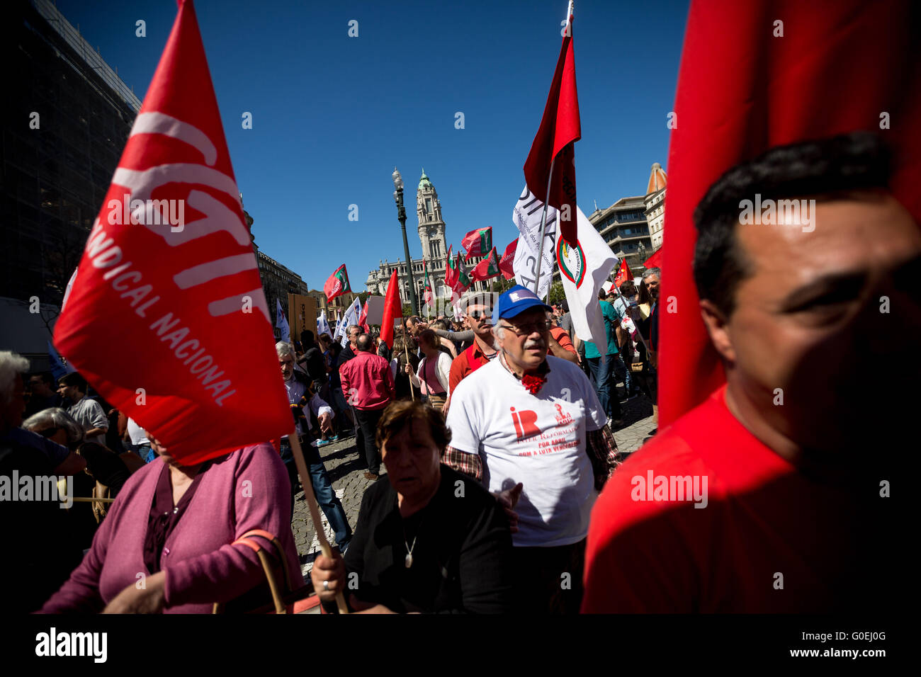 Hundreds of people manifested in the streets of Porto during the celebrations of labor day against unemployment, - Stock Image
