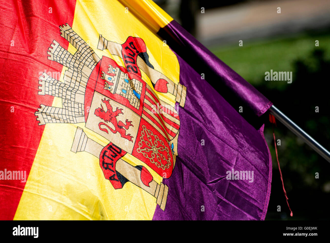 Oviedo, Spain. 1st May, 2016. Spanish Republican flag during the May Day Rally in commemoration of International - Stock Image