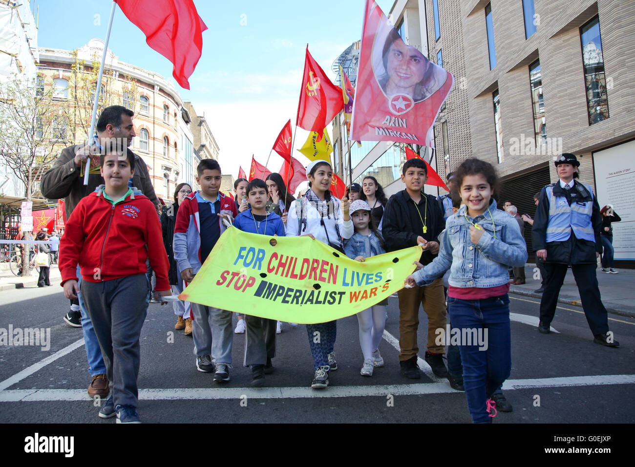 London, UK. 1st May, 2016. Thousands take part in May Day rally in London followed by a march to Trafalgar Square Stock Photo
