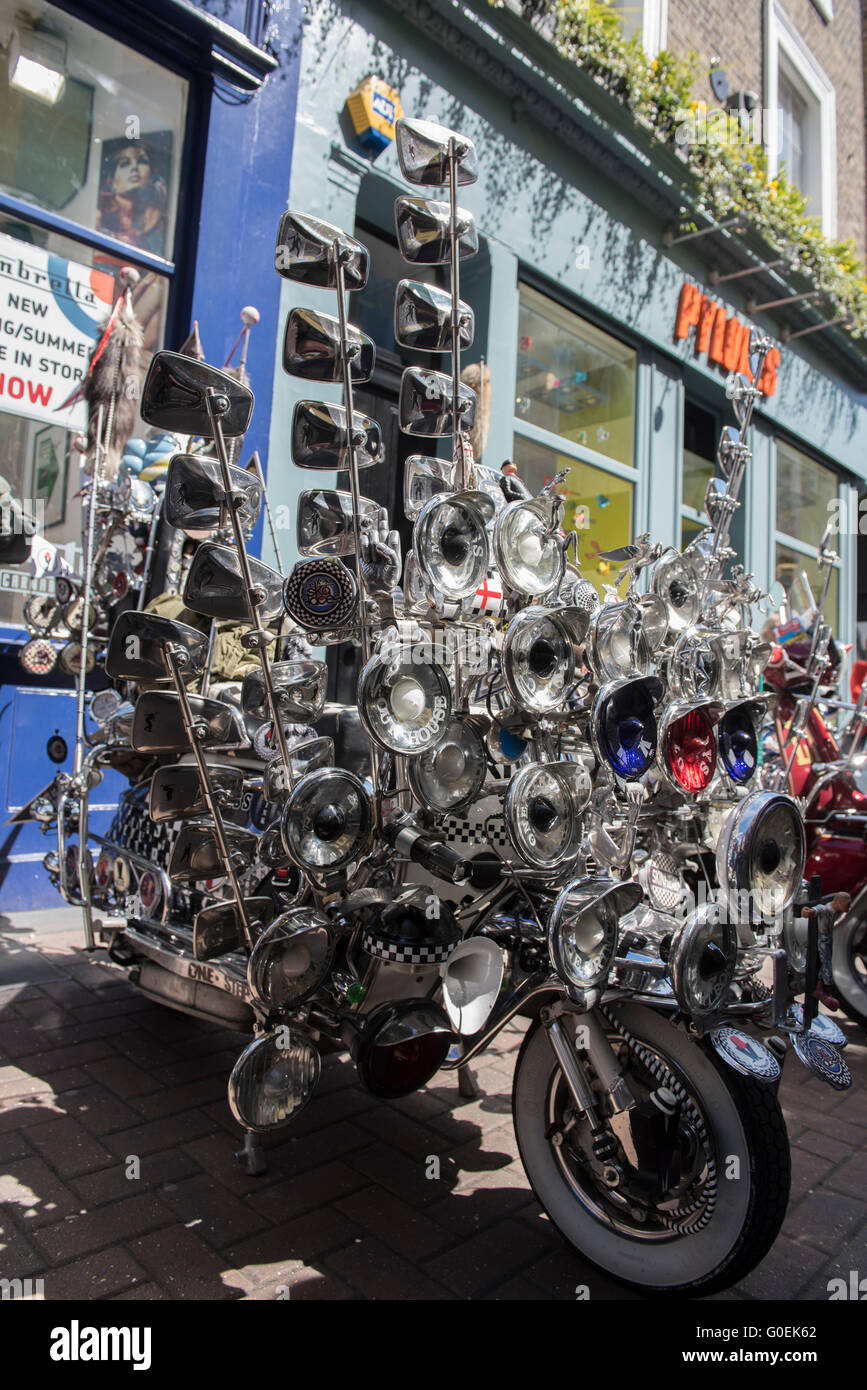 London, UK. 1st May 2016. Scooters gathered in Carnaby Street, London for the annual Buckingham Palace Scooter Run Stock Photo