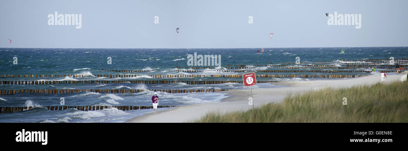 sandy shore with wooden groynes and kitesurfers Stock Photo