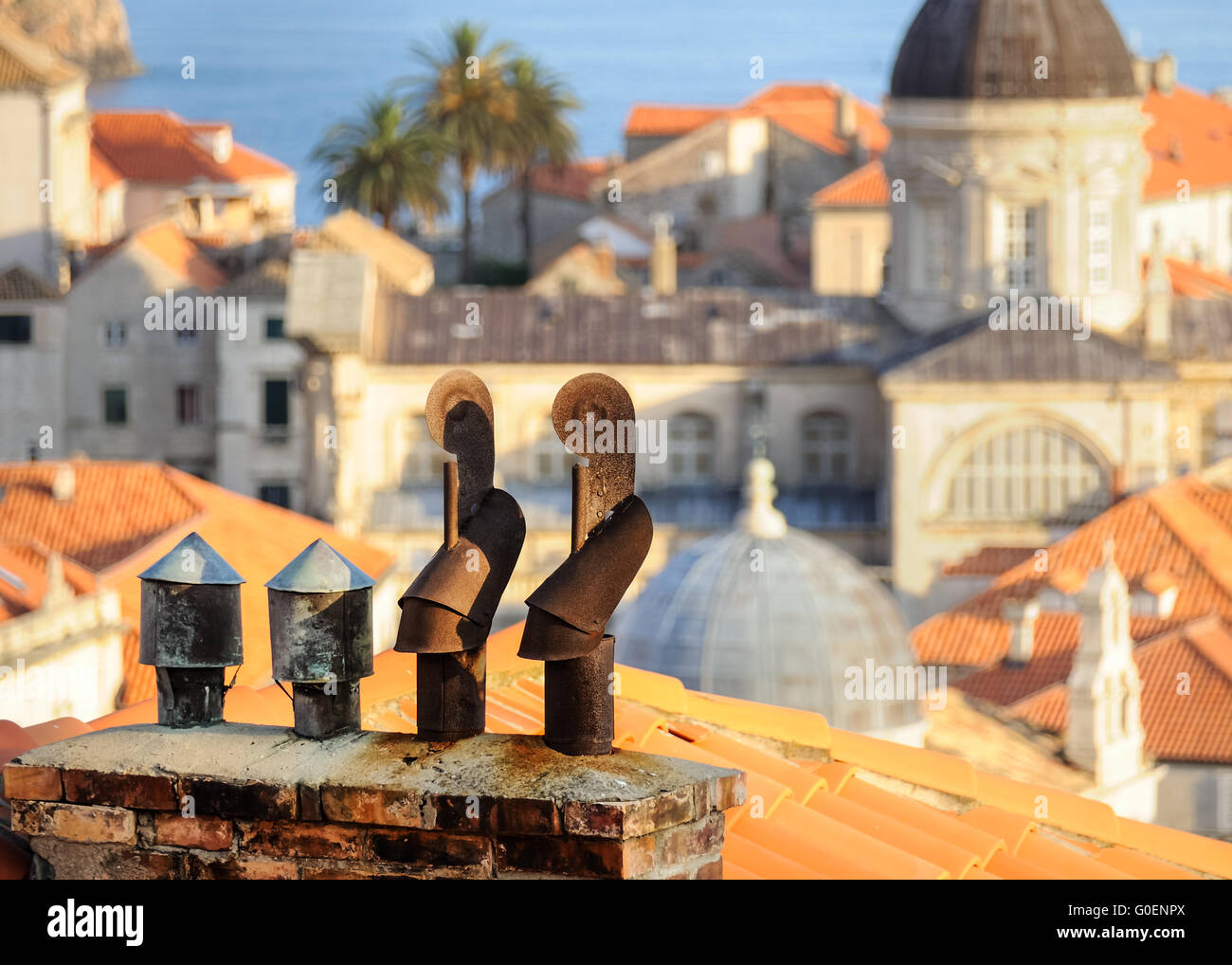 Chimney above the rooftops of Dubrovnik - Stock Image
