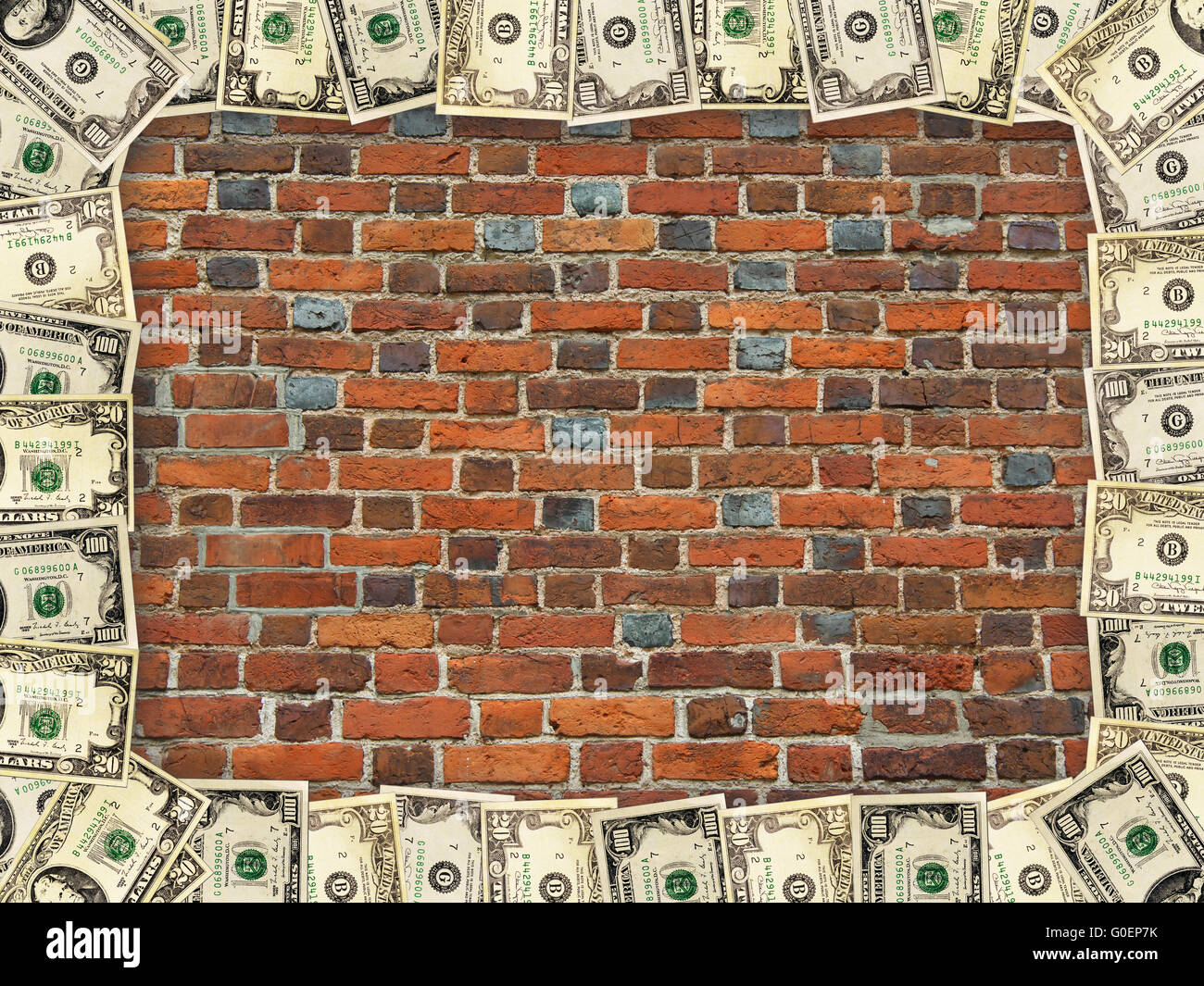 frame from dollars on the background of red brick - Stock Image