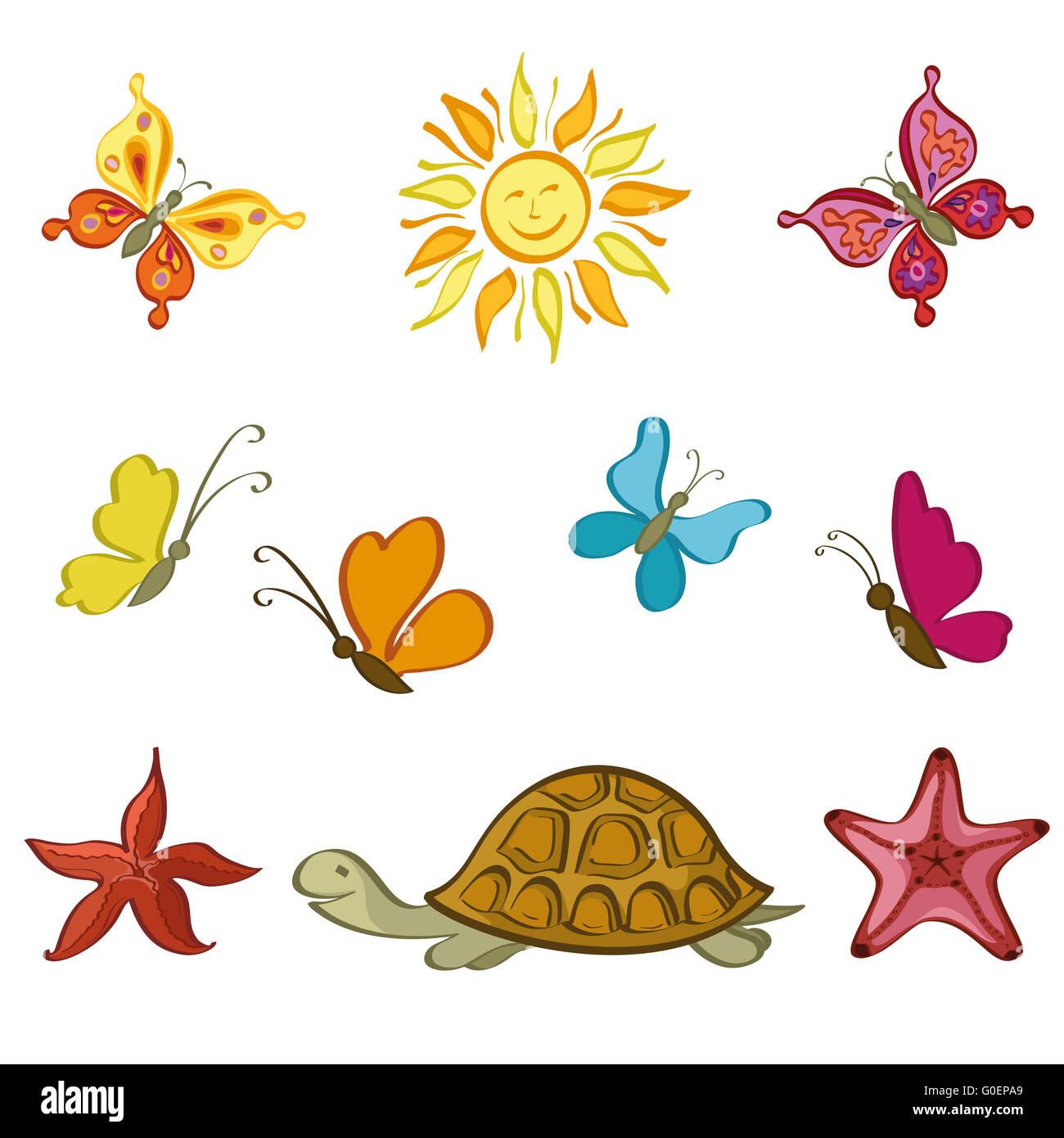Sun, Butterflies, Turtle and Starfish - Stock Image