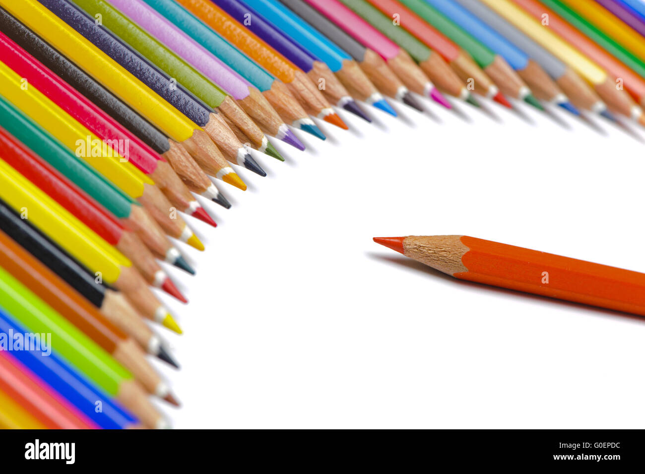 team and boss symbolic with crayons - Stock Image