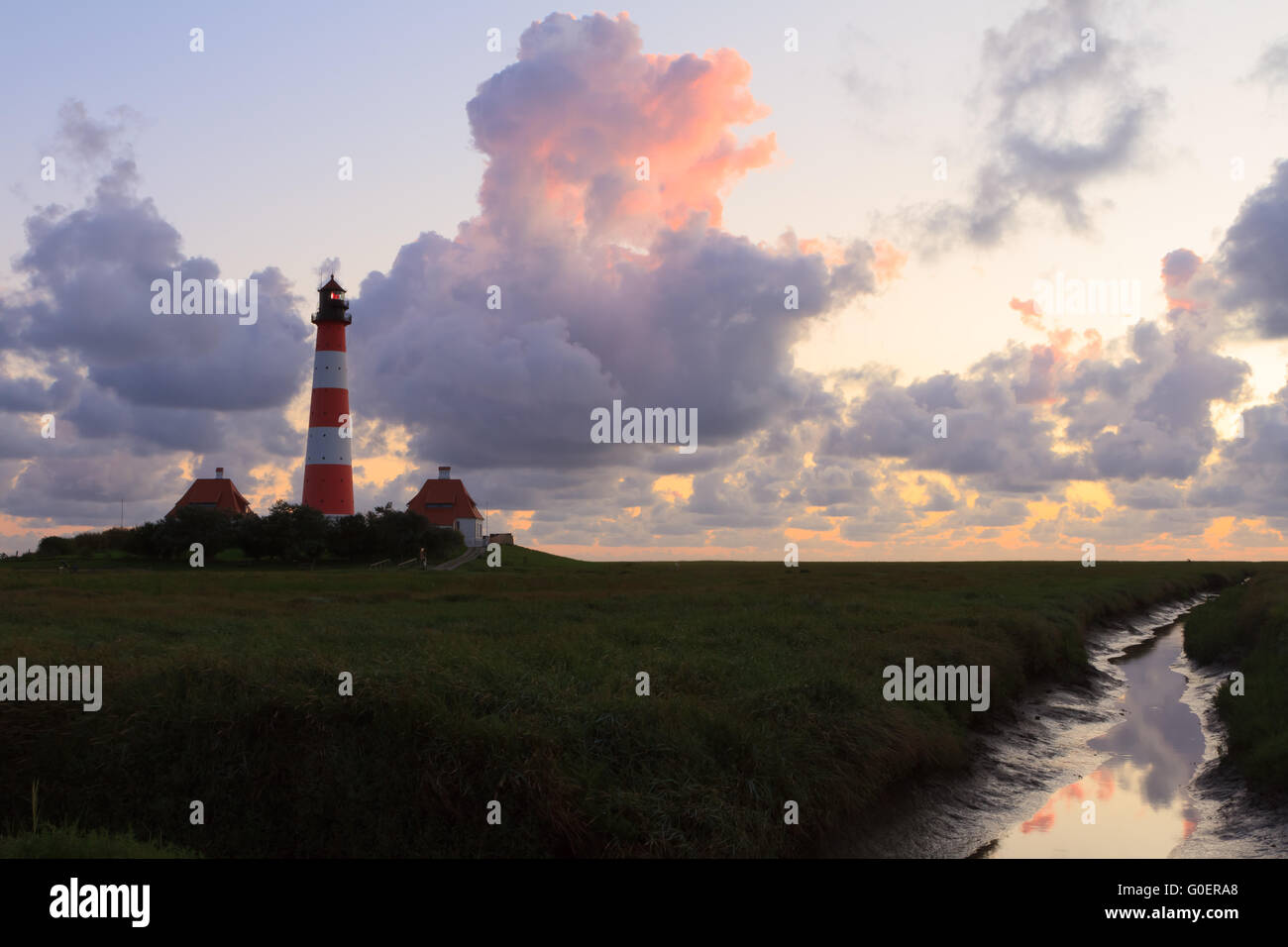 Westerhever Lighthouse, Northern Germany - Stock Image