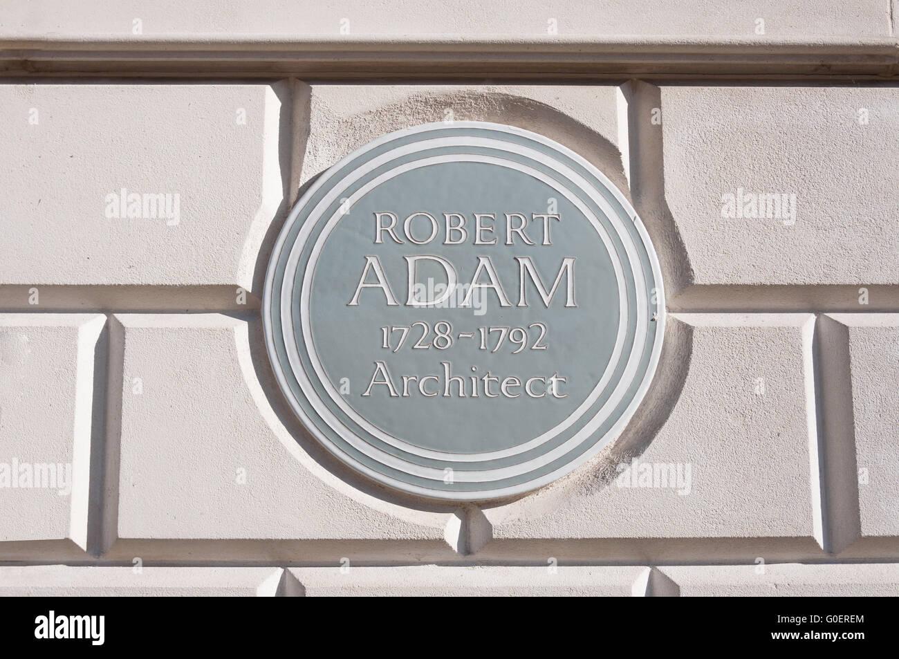 Robert Adam plaque on 18th century townhouse, Fitzroy Square, Fitzrovia, Borough of Camden, London, England, United - Stock Image