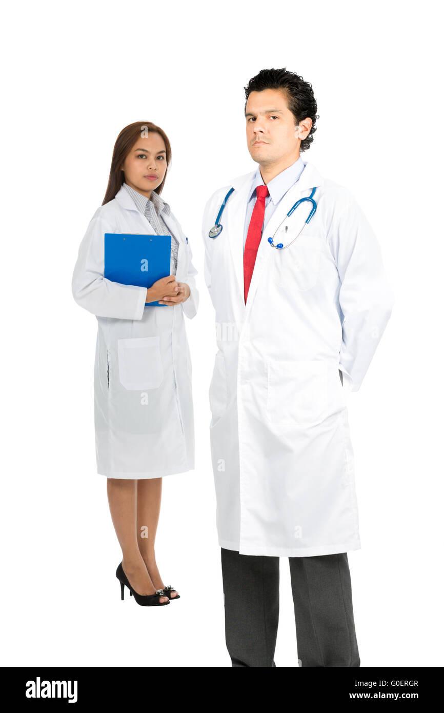 Latino Asian Team Doctors Serious Caring V - Stock Image