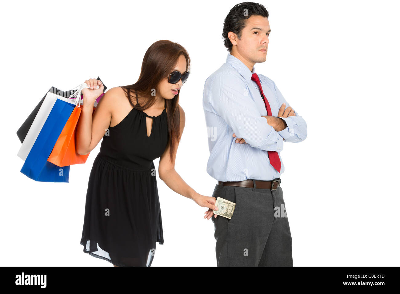 Shopping Woman Removing Money Standing Husband H - Stock Image