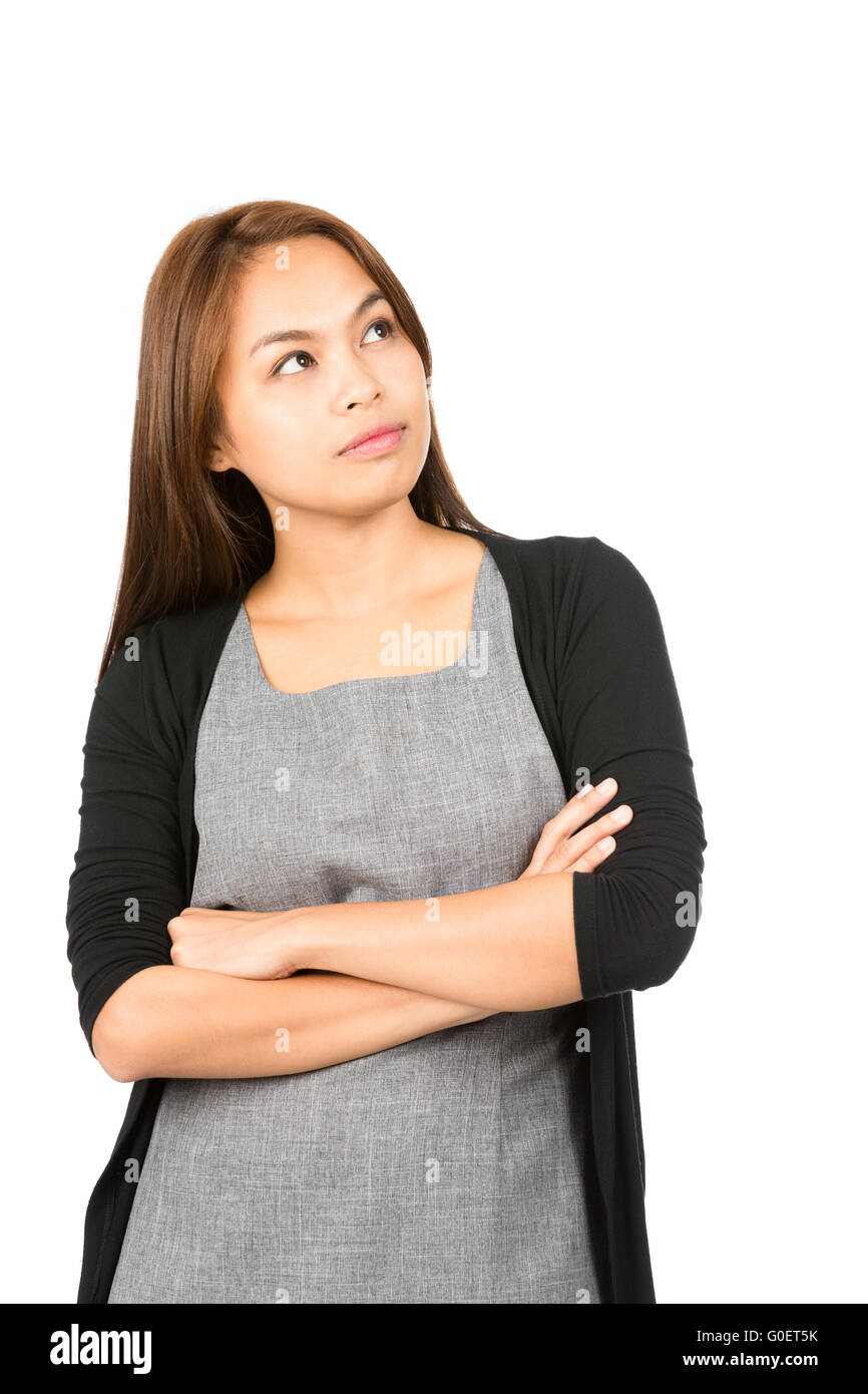 Wondering Asian Woman Looking Up Copy Space Side - Stock Image